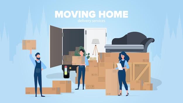 홈 배너 이동. 새로운 곳으로 이사. 흰색 트럭, 상자, 소파, 실내 식물, 램프. 외딴. .