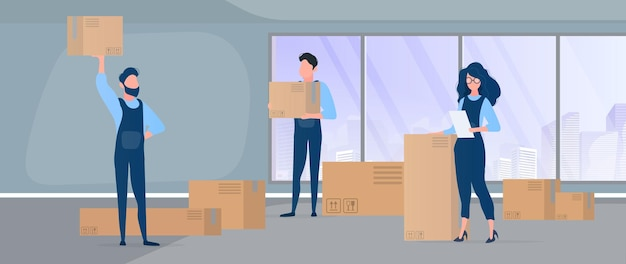 Moving home. office relocation to a new location. movers carry boxes. the concept of transportation and delivery of goods. .