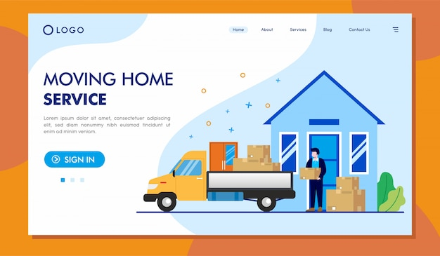 Moving home service landing page website illustration