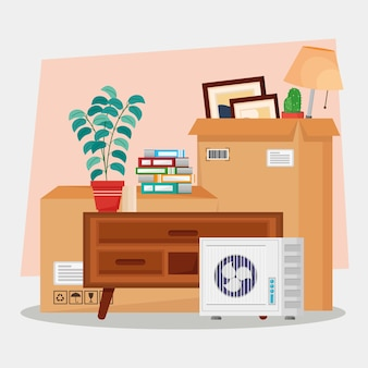 Moving house in boxes  illustration