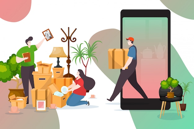 Moving house delivery online service,  illustration.  transportation, relocation box in room, man woman character.