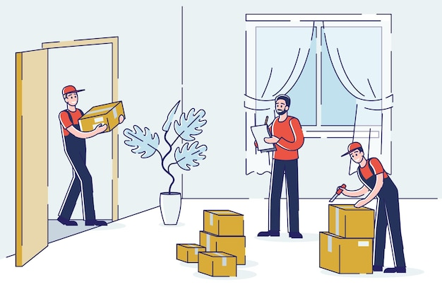 Moving house service with loaders carrying cardboard boxes to living room