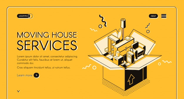 Moving house services web banner with home furniture in cardboard box