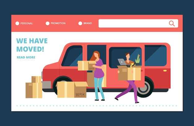 Moving house vector web banner. we have moved landing page template