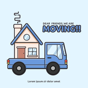 Moving house with pick up car illustration