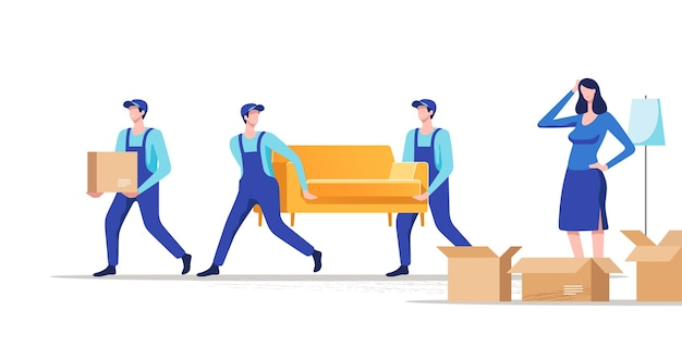 Moving house. woman packing stuff to move to new house or apartment. men carrying sofa and cardboard box.
