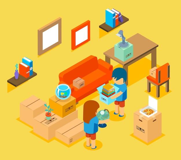 새 아파트로 이사. 아이소 메트릭 3d. 편안한 소파, 테이블과 의자, 물건