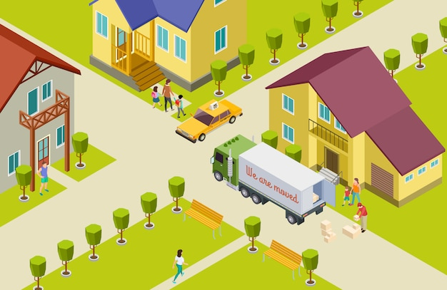 Moving isometric  illustration. neighborhood in a small town, home, park, people, delivery track