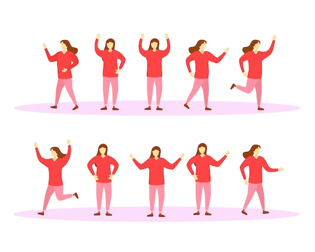 Moving and jumping characters girls in colorful clothes. set of characters women. people lead a healthy lifestyle.  illustration in  . .