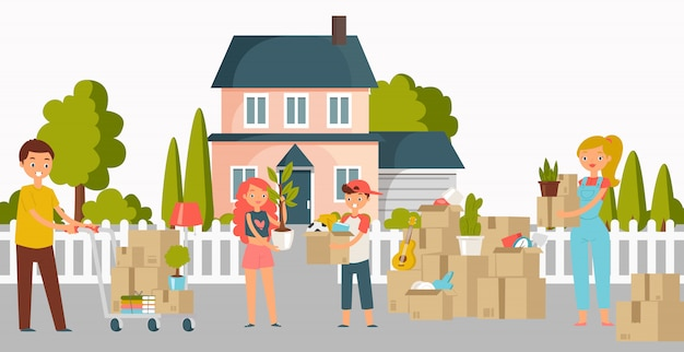 Moving new home, house or appartment people with cardboard boxes, young couple and shipping cargo delivery service workers flat illustration.