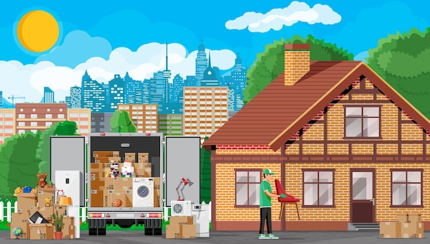 Moving to new house. family relocated to new home. male mover, paper cardboard boxes near house, delivery truck. package for transportation. household items and electronics. flat vector illustration