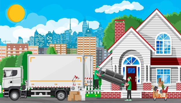 Moving to new house. family relocated to new home. male mover, paper cardboard boxes near house, delivery truck. package for transportation. household items and electronics. flat vector illustration Premium Vector