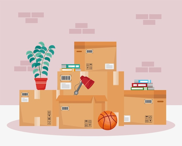 Moving out boxes illustration