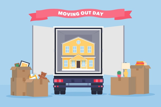 Moving out day real estate concept