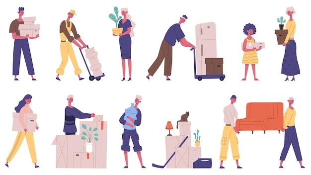 人を引っ越す。家族が新しい家を引っ越し、箱や家具を運ぶキャラクター、貨物配達サービスのベクトルイラストセット。引っ越しの日