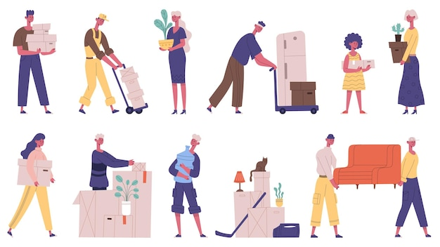 Moving out people. family moving new house, characters carrying boxes and furniture, cargo delivery service vector illustration set. house moving day