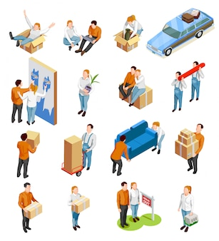 Moving people isometric set