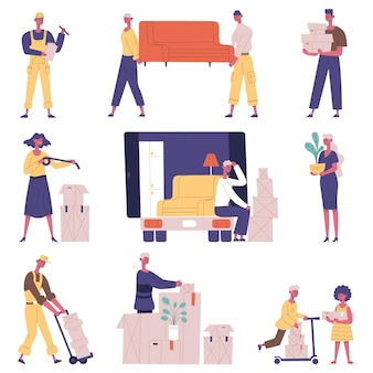 Moving relocation people. relocation delivery service characters, people carrying furniture and cardboard boxes vector illustration set. moving out new house