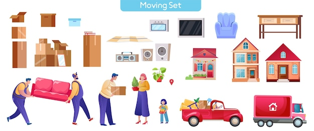 Moving and relocation set. cartoon vector illustration. characters design