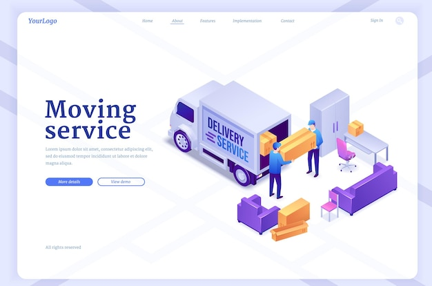 Moving service banner with workers unload van with furniture and boxes vector landing page of delive...