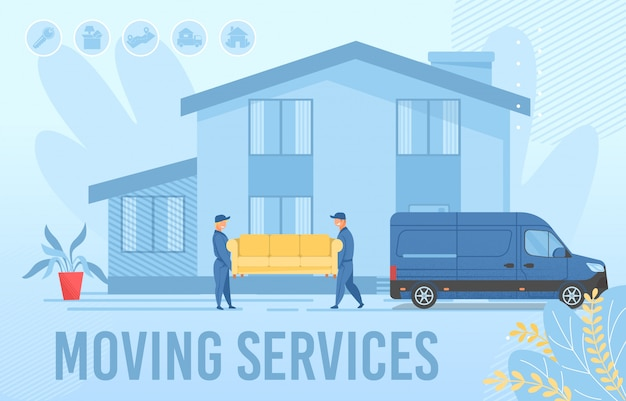 Moving services advertising webpage banner layout