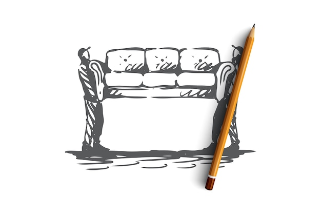 Moving, sofa, furniture, delivery, transportation concept. hand drawn two persons moving sofa concept sketch.   illustration.