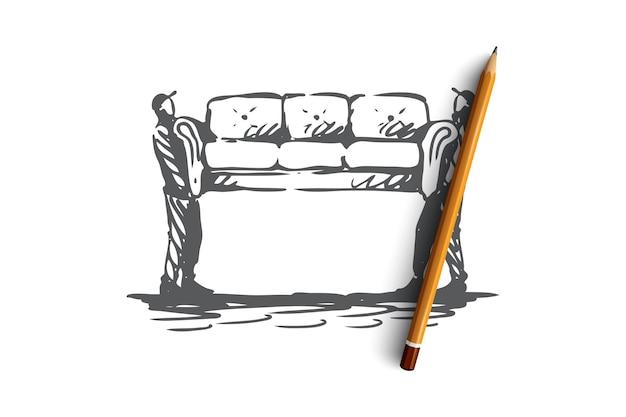 引っ越し、ソファ、家具、配達、輸送のコンセプト。手描きの2人がソファのコンセプトスケッチを移動します。図。