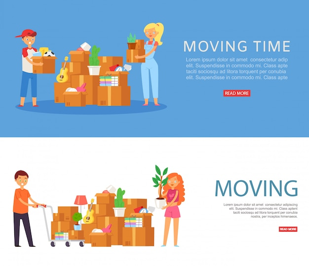 Moving time, inscription on banner, woman in house, apartment with collected things, , cartoon   illustration.