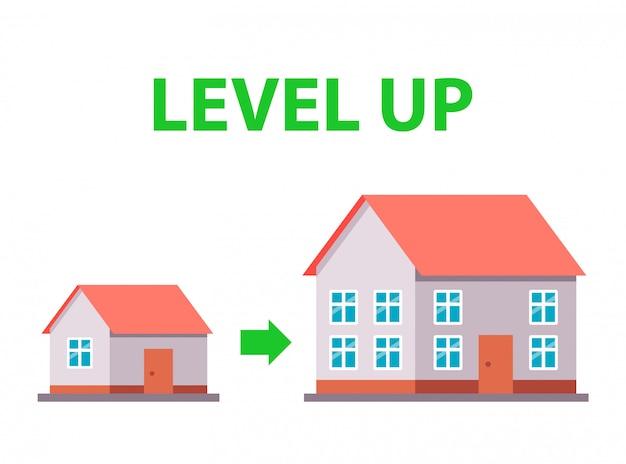 새 집으로 이사. 주택 조건 개선. 삽화.