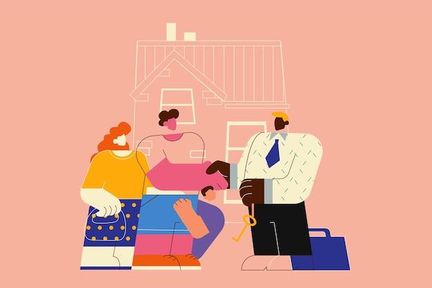 새 집으로 이사, 아파트 구매 또는 임대. 새 집의 열쇠를주는 남자 부동산 에이전트.