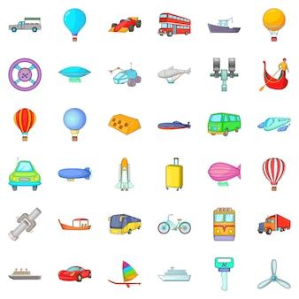 Moving transport icons set, cartoon style