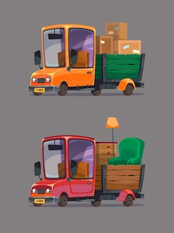 상자와 가구로 트럭을 이동합니다. 레트로 자동차를 설정합니다. 만화 스타일.