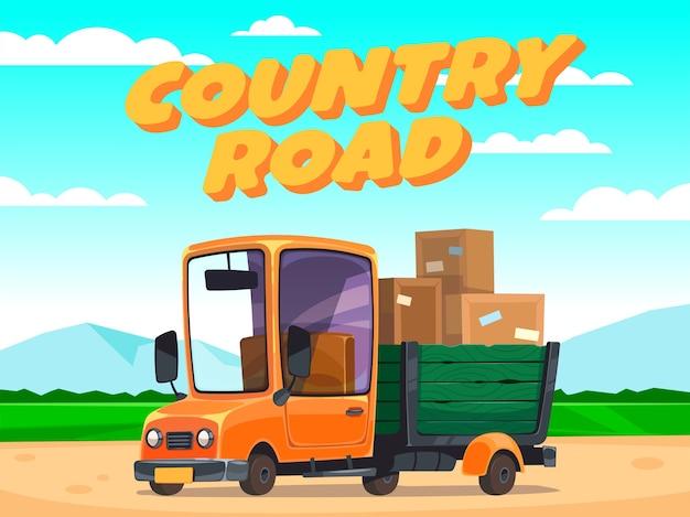 ボックス付きの移動トラック。田舎道。車セット。漫画のスタイル。かわいい車のコンセプトアート。
