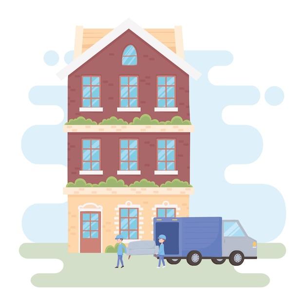 새 집에 건물에 도착하는 근로자와 소파가있는 트럭 이동