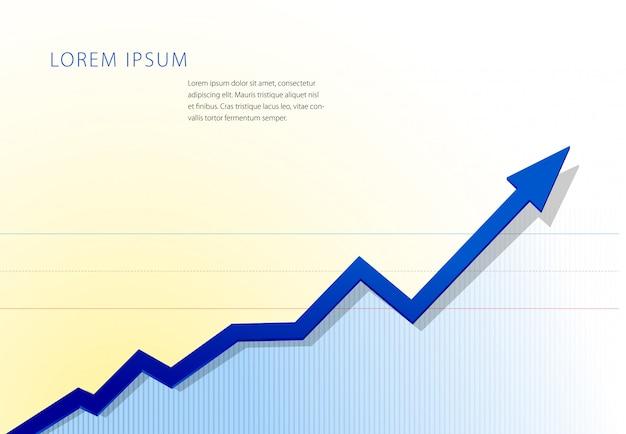 上向き矢印チャート。財務または統計グラフテンプレート。