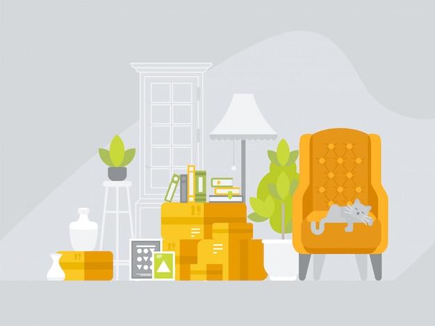 Переезд с коробками с разными вещами в новый дом