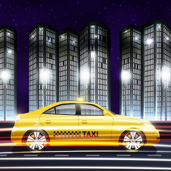Moving yellow taxi car on night city background