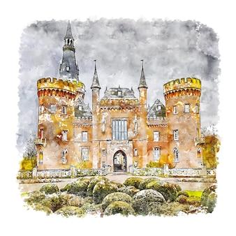 Moyland castle france watercolor sketch hand drawn illustration