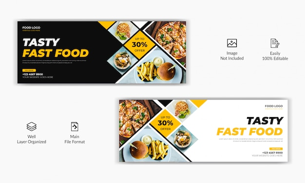 Mozaic style restaurant food sale offer social media post facebook cover page timeline web ad banner template