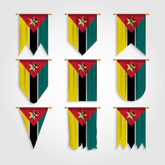 Mozambique flag in different shapes, flag of mozambique in various shapes