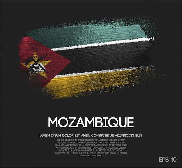 Mozambique flag made of glitter sparkle brush paint