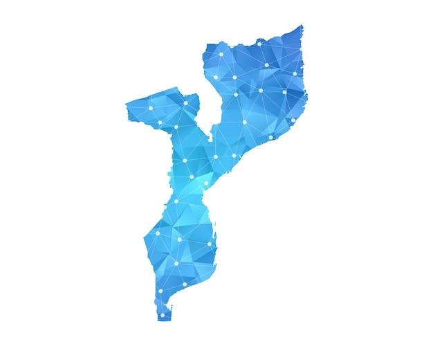 モザンビークの地図の線の点は多角形の抽象的な幾何学的です。