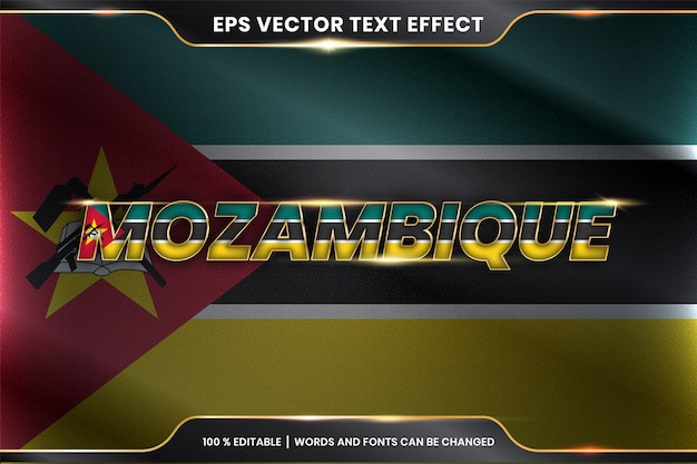 Mozambique with its national country flag, editable text effect with gold color concept