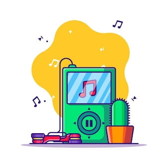 Mp3 player and earphone cartoon illustration