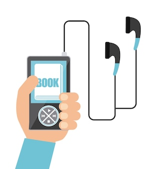 Mp3、ブック、ヘッドフォンアイコン。オーディオブックデザイン。ベクターグラフィック