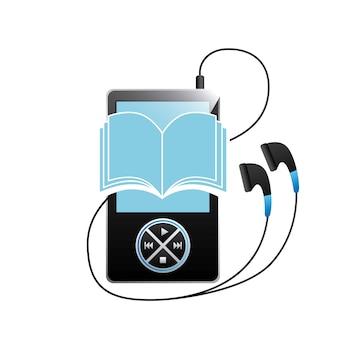 Значок mp3, книги и наушников. дизайн аудиокниг. векторная графика