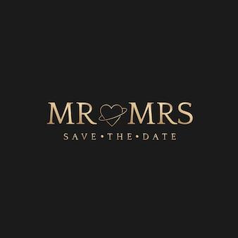 Mr 및 mrs 배지 결혼식은 날짜를 저장하는 황금색 럭셔리 스타일