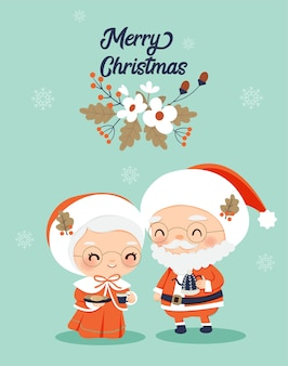Mr. and mrs. claus with flower decoration for chirstmas greeting card