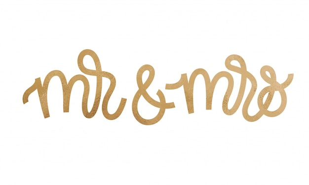 Mr and mrs. text on white background.