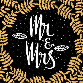 Mr and mrs wedding hand lettering